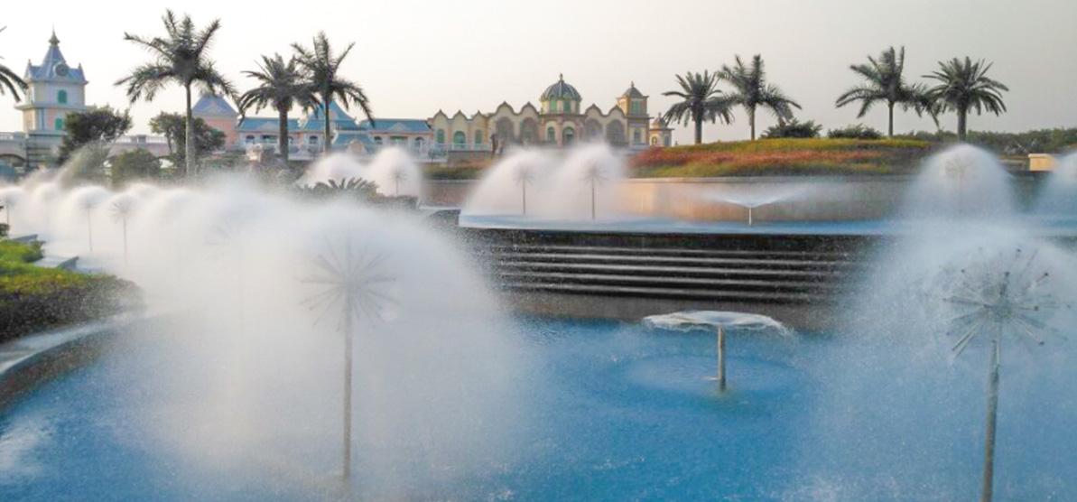 喷泉设备安装过程